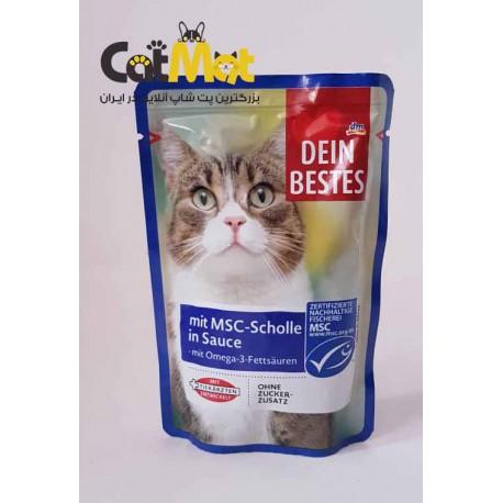 پوچ گربه Dein Bestes با طعم ماهی پلایس 100 گرمی