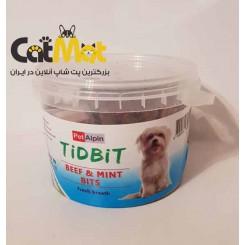 تشویقی سطلی مخصوص سگ با طعم بیف و نعناع Tidbit
