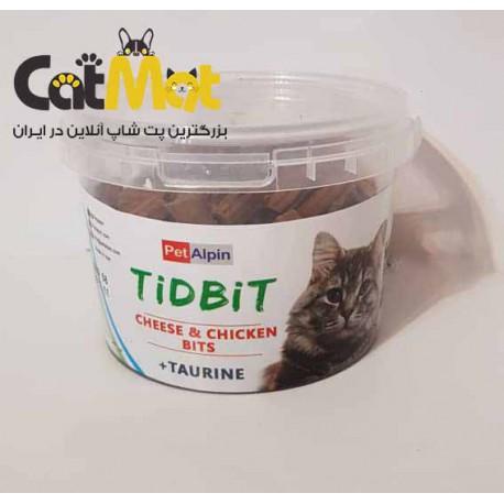 تشویقی مرغ و پنیر با تائورین مخصوص گربه Tidbit