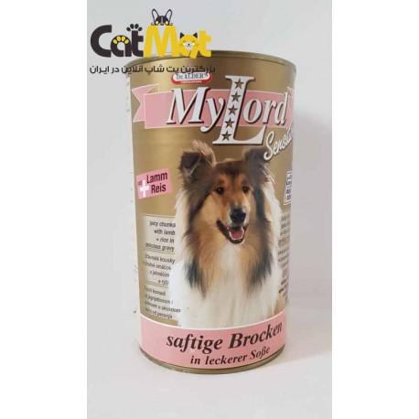 کنسرو سوپر پرمیوم سگ بالغ حاوی گوشت بره و برنج در سس 1240 گرمی