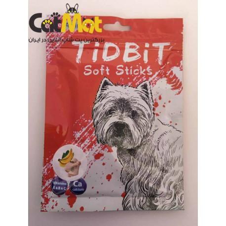 تشویقی مدادی نرم Tidbit مخصوص سگ 9 عددی با طعم مرغ و موز