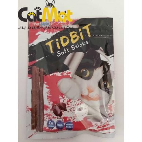 تشویقی مدادی گربه با طعم جگر 10 عددی tidbit