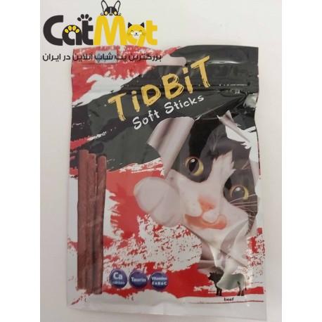 تشویقی مدادی گربه 10 عددی با طعم گوشت tidbit