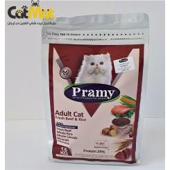 غذای خشک پرامی گربه بالغ adult) 1.5 kg ) با طعم گوشت و برنج