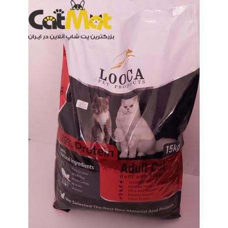 غذا خشک گربه بالغ با طعم گوشت لوکا 15 کیلویی