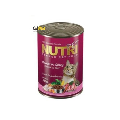 كنسرو نوتري گربه با طعم گوشت و مرغ 425g