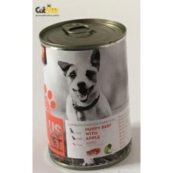 کنسرو توله سگ us pet حاوی گوشت گاو به همراه سیب 400گرم