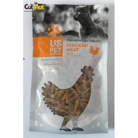 تشویقی گربه مدل فیله نواری کوچک حاوی گوشت مرغ 100گرم
