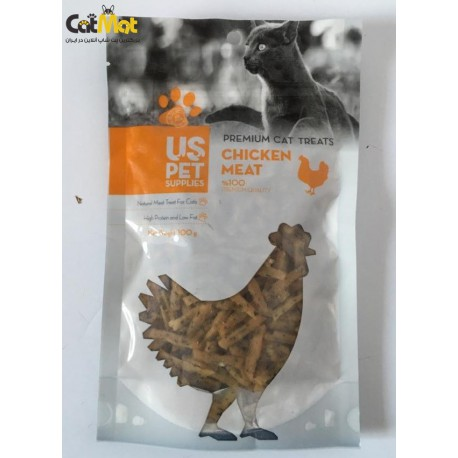تشویقی گربه مدل فیله نواری کوچک حاوی گوشت مرغ به همراه چای سبز 100گرم
