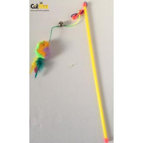 چوب بازی گربه همراه با توپ کاموایی و پر