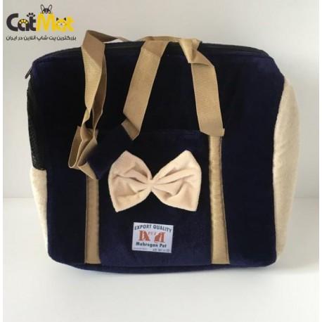 کیف حمل مخصوص سگ و گربه طرح پاپیون دار 45*25*40