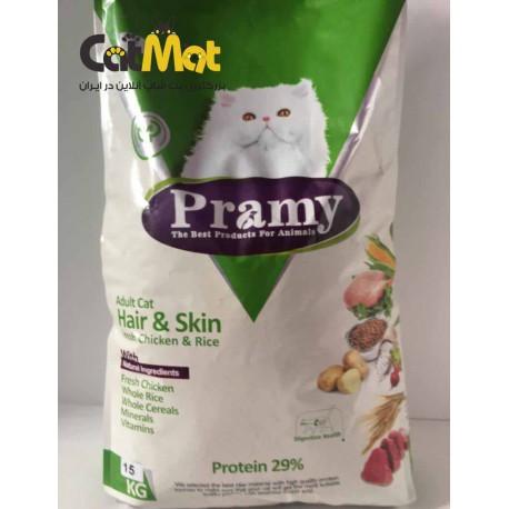 پرامی گربه مرغ و برنج پوست و مو 15 کیلوگرمی