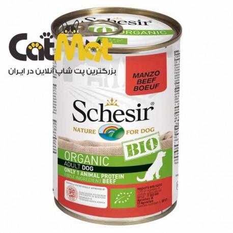 کنسرو غذای سگ شسیر Schesir مدل BIO Beef با طعم فیله بیف وزن 400 گرم