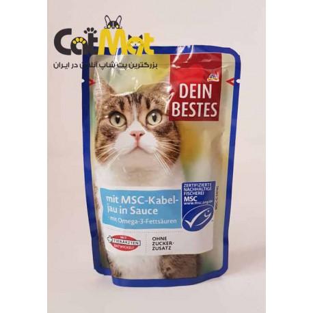پوچ گربه Dein Bestes با طعم ماهی کاد 100 گرمی