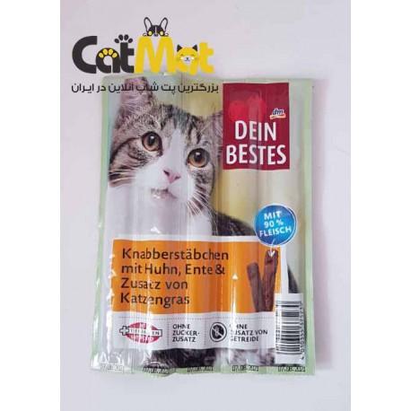 تشویقی مداد 5 عددی گربه Dein Bestes با طعم مرغ و اردک